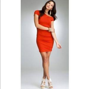 Bebe Red Asymmetric spandex dress, small